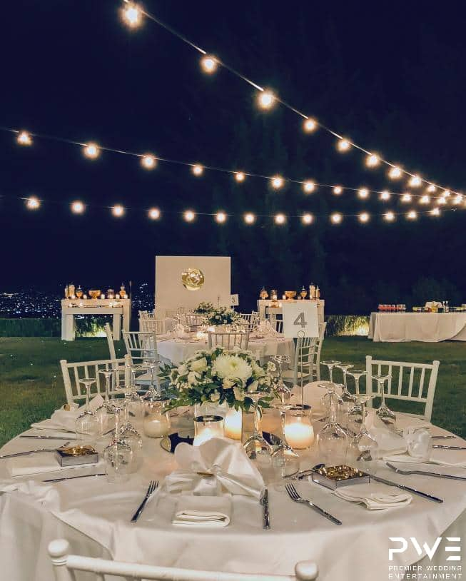 Romantic Lighting with string lights at Agouridis estate